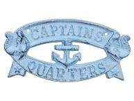 Rustic Dark Blue Whitewashed Cast Iron Captains Quarters Sign 9