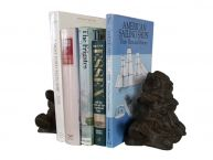 Set of 2 - Rustic Cast Iron Turtle Family Book Ends 8