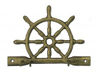 Rustic Gold Cast Iron Ship Wheel with Hooks 8