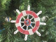 Rustic Red and White Decorative Ship Wheel With Seagull Christmas Tree Ornament 6