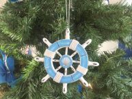 Rustic Light Blue and White Decorative Ship Wheel With Anchor Christmas Tree Ornament 6