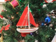 Red Sailboat with Red Sails Christmas Tree Ornament 9