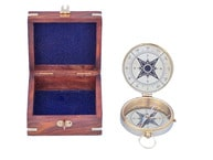 Solid Brass Emerson Poem Compass 4 w- Rosewood Box
