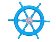 Deluxe Class Light Blue Wood and Chrome Ship Steering Wheel 24
