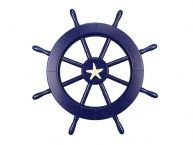 Dark Blue Ship Wheel with Starfish 18