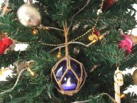 LED Lighted Dark Blue Japanese Glass Ball Fishing Float with Brown Netting Christmas Tree Ornament 3