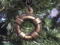 Antique Gold Cast Iron Lifering Christmas Ornament 5
