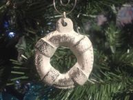 Rustic Whitewashed Cast Iron Lifering Christmas Ornament 5