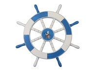 Light Blue and White Ship Wheel with Seagull and Lifering 18