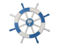Light Blue and White Decorative Ship Wheel with Palm Tree 18