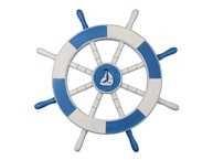 Light Blue and White Decorative Ship Wheel with Sailboat 18