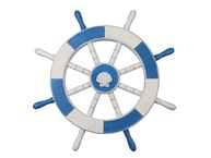Light Blue and White Ship Wheel with Sea Shell 18