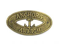 Antique Gold Cast Iron Anchors Aweigh with Anchor Sign 8