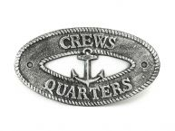 Antique Silver Cast Iron Crews Quarters with Anchor Sign 8