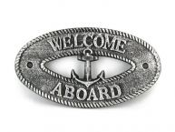 Antique Silver Cast Iron Welcome Aboard with Anchor Sign 8