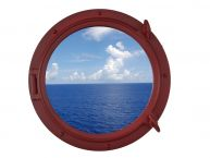 Dark Red Decorative Ship Porthole Window 15