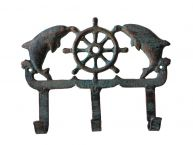 Rustic Cast Iron Seaworn Dolphin Key Rack 8
