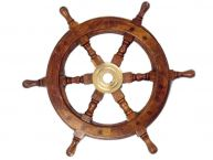Wood and Brass Ship Wheel 12
