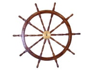 Deluxe Class Wood and Brass Decorative Ship Wheel 60
