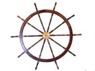 Deluxe Class Wood and Brass Decorative Ship Wheel 72