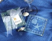 Frosted Shell and Starfish Glass Coasters - Set of 4