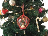 LED Lighted Clear Japanese Glass Ball Fishing Float with Red Netting Christmas Tree Ornament 3