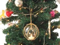 LED Lighted Clear Japanese Glass Ball Fishing Float with Brown Netting Christmas Tree Ornament 4