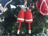 "Wooden Red Decorative Maine Lobster Trap Buoys Christmas Ornament 7""  picture"