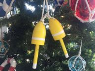 Wooden Yellow Maine Decorative Lobster Trap Buoys Christmas Ornament 7