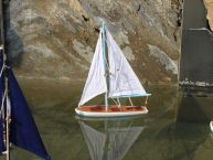 Wooden It Floats 21 - Light Blue Floating Sailboat Model