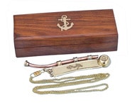Solid Brass-Copper Bosun Whistle 6 w- Rosewood Box