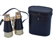 Admirals Brass Binoculars with Leather Case 6