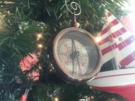 Antique Copper RMS Titanic White Star Pocket Compass Christmas Ornament 3