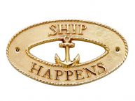 Brass Ship Happens Oval Sign with Anchor 8