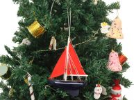 Wooden American Paradise Model Sailboat Christmas Tree Ornament