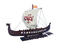 "Wooden Viking Drakkar with Embroidered Serpent Model Boat Limited 24"" picture"
