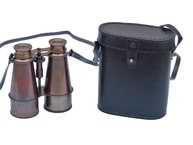 Captains Antique Copper Binoculars with Leather Case 6