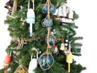 Light Blue Glass And Rope Floats Christmas Tree Ornament  picture
