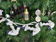 Wooden Rustic Blue Triple Anchor Set Christmas Tree Ornament