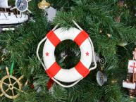 "White Lifering with Red Bands Christmas Tree Ornament 6""  picture"