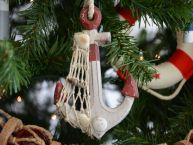 Rustic Red Anchor Christmas Tree Ornament