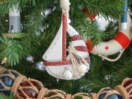 Wooden Rustic Red Sailboat Christmas Tree Ornament