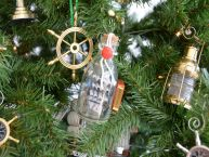 Flying Cloud Ship in a Glass Bottle Christmas Tree Ornament