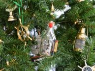 Santa Maria Ship in a Glass Bottle Christmas Tree Ornament