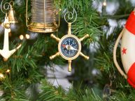 Brass Ships Wheel Compass Christmas Tree Ornament picture