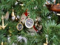 Brass Black-White Compass Christmass Tree Ornament