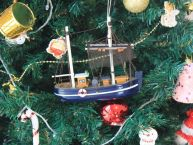 Wooden Fisher King Model Fishing Boat Christmas Tree Ornament