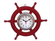 Deluxe Class Red Wood and Chrome Pirate Ship Wheel Clock 12