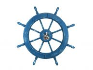 Wooden Rustic All Light Blue Decorative Ship Wheel With Seagull 30