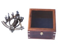 Antique Brass Sextant 7 with Rosewood Box